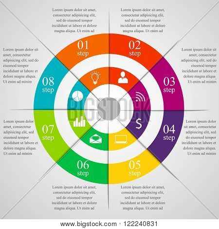 Circle infographic template with icons. Modern colorful business concept with 8 options, parts, steps or processes. Template for cycle diagram, graph, presentation and round chart