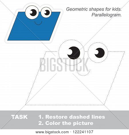 Paralellogram in vector to be traced. Restore dashed line and color the picture. Trace game for children.