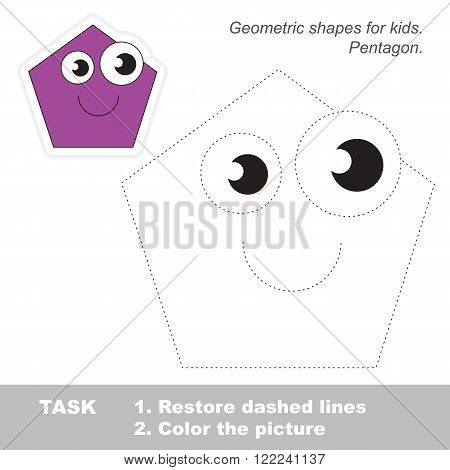 Pentagon in vector to be traced. Restore dashed line and color the picture. Trace game for children.