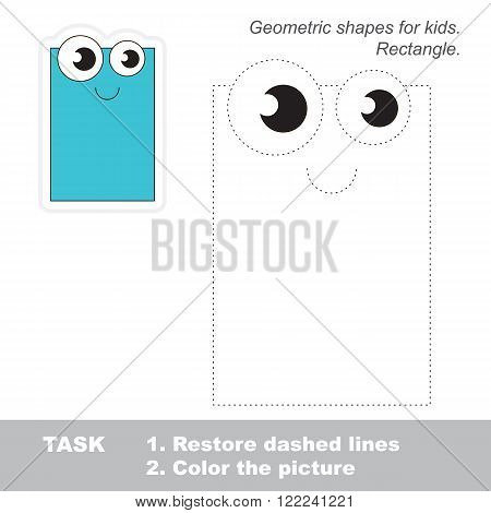 Rectangle in vector to be traced. Restore dashed line and color the picture. Trace game for children.