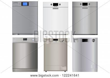 Dishwasher. Vector illustration isolated on white background