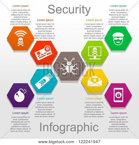 Information security infographic set with icons and text