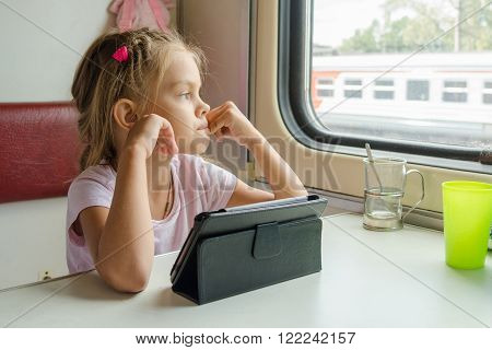 Girl Thoughtfully Looked Out The Window While Sitting With A Tablet On A Train