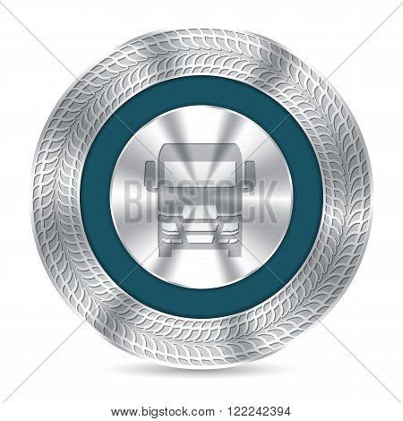 Cool metallic truck badge design with debossed tire tracks