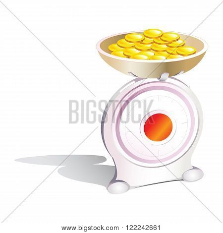 Weight scale with coin. justice concept