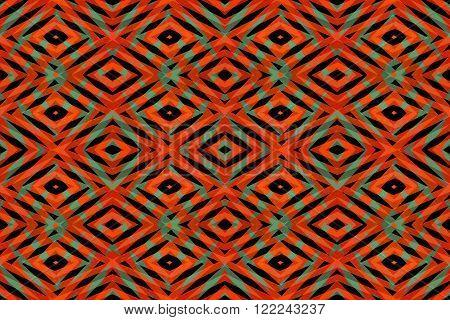 Orange green and black diamond shapes pattern