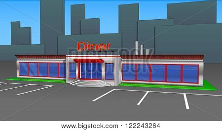 Diner cafe icons and cliparts right side view. Elements of the city...