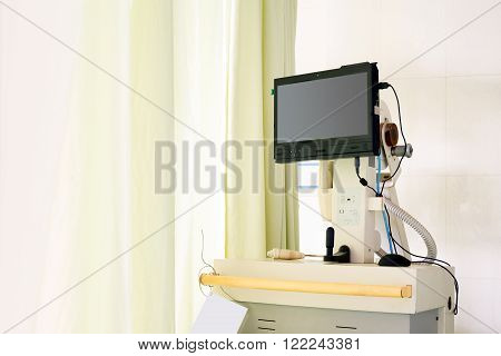 Hospital laboratory equipment, ECG ICU, blue tone picture
