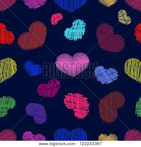 Seamless Pattern with Stylized colorful hand-drawn Scribble Hearts. St. Valentine's Day or Weddings Design Element. Doodle Sketch Childlike Style. Vector background.
