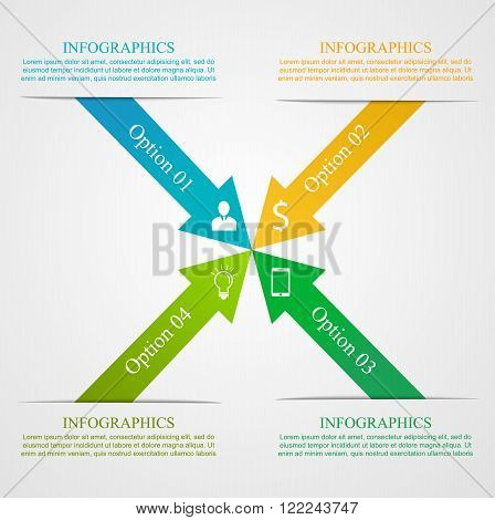 Modern Arrow Infographic Template. Business concept with 4 options, parts, steps or processes. Can be used for workflow layout, diagram, number options, step up options, web design