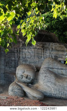 Polonnaruwa Ancient City, reclining Buddha in Nirvana at Gal Vihara Rock Temple (Gal Viharaya), UNESCO World Heritage Site, Sri Lanka, Asia.