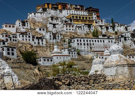 Large view of Thiksay Monastery in deep blue sky, Leh, Ladakh, India.