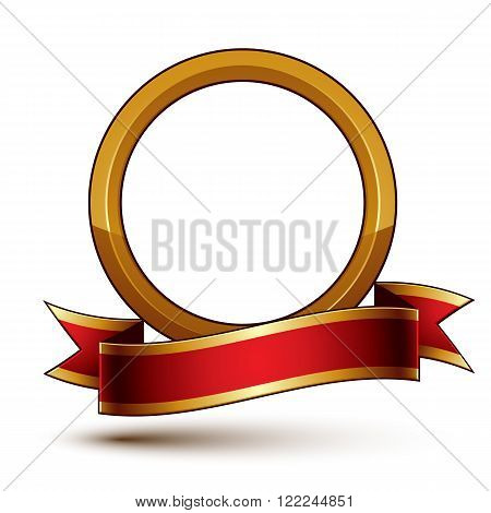 Design Vector Golden Ring Template With Red Curvy Ribbon, 3D Round Aristocratic Token Isolated On Wh