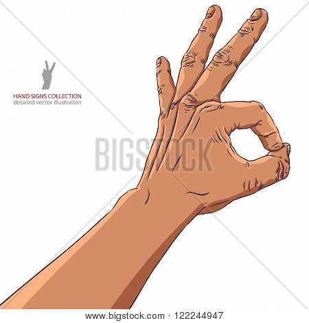 Okay hand sign African ethnicity detailed vector illustration.