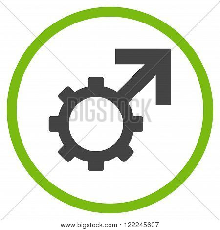 Technological Potence vector bicolor icon. Image style is a flat icon symbol inside a circle, eco green and gray colors, white background.