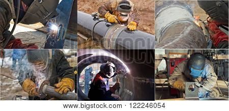 A set of photos on the theme of the welder fabricates pipe sections