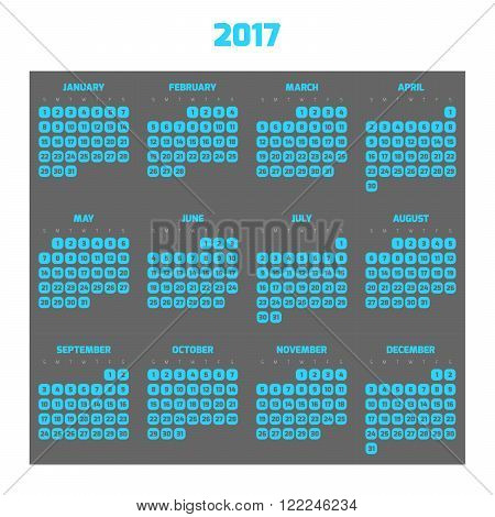 Calendar for year 2017. Four months in three rows. Weeks start on monday. Grey numbers in blue squares with rounded corners on grey background.