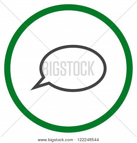 Hint Cloud vector bicolor icon. Image style is a flat icon symbol inside a circle, green and gray colors, white background.