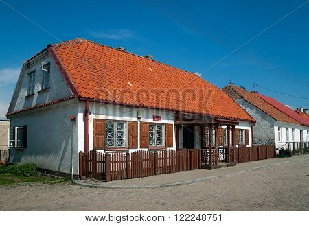 TYKOCIN, POLAND - MAY 10, 2010: Civil Registry house, traditional buildings at Czarnecki Square