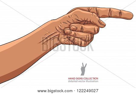 Finger pointing hand African ethnicity detailed vector illustration hand sign, hand drawn.