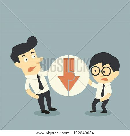 Businessman hold Jigsaw of arrows down cartoon concept