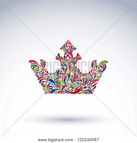 Colorful Flower-patterned Crown, Coronation Design Element. Classic Royal Accessory Decorated With A