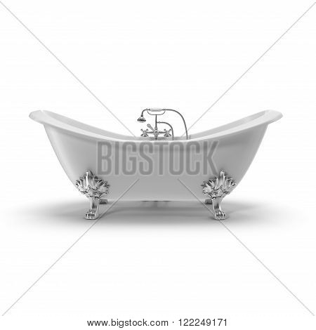 Luxury Vintage Double Slipper Clawfoot Bath on white background
