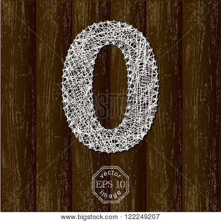 Letter O, made with threads on pins