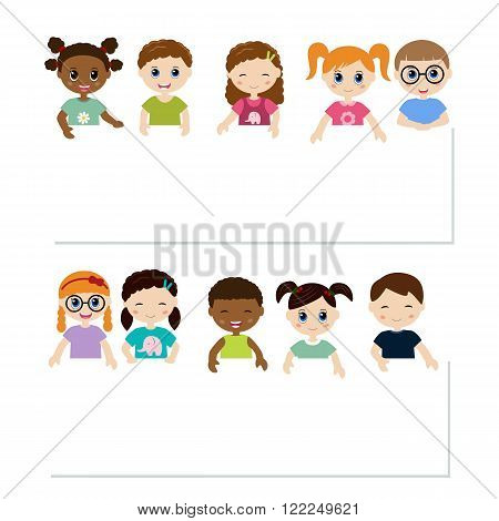 Multicultural cute kids holding white blank banner.