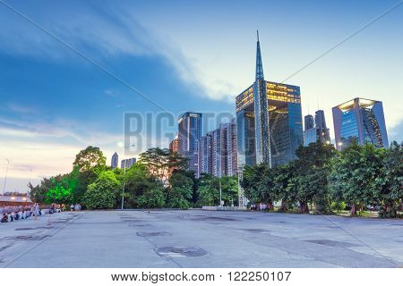 cityscape and skyline of guangzhou on view from square