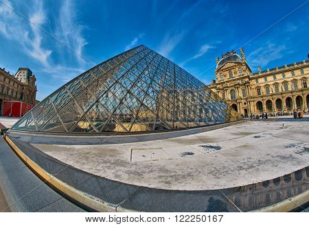 PARIS, FRANCE - MARCH 2016: Wide-Angle view of Louvre Museum in Paris