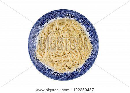 Plate Of Plain Cooked Italian Spaghetti Pasta