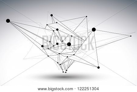 Geometric Vector Abstract 3D Complicated Lattice Object, Single Color Messy Eps8 Conceptual Tech Ill