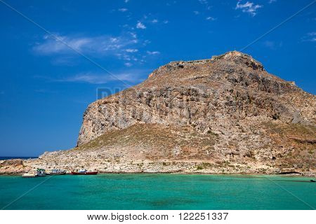 Imeri Gramvousa is an uninhabited islet off the coast of north-western Crete with remains of a Venetian fort, a popular tourist attraction