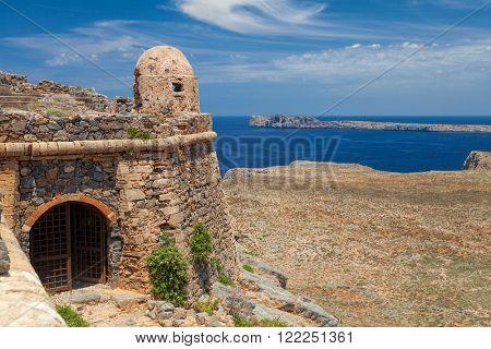 Venetian fort entrance at Imeri Gramvousa island Chania Crete Greece Mediterranean