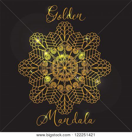 Vector Beautiful Mandala. Ethnic Design Element. Vintage round ornament. Golden mandala with highlights. Geometric circle element made in vector.