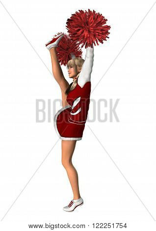 3D illustration of a young cheerleader with pompoms isolated on white background