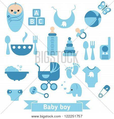 Baby boy icons set. Childbirth and motherhood.