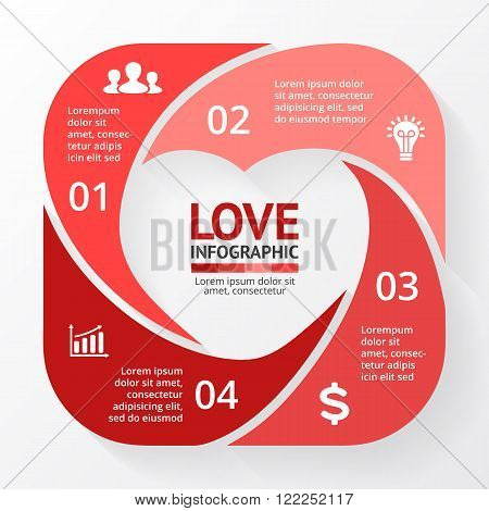 Vector heart circle infographic. Template for love cycle diagram, graph, presentation, round chart. Business concept with 4 options, parts, steps, processes. Happy Valentines Day.