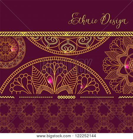 Golden mandalas with hotspots. Vector background. Ethnic design. Vintage Round Ornament Pattern. Islamic, Arabic, Indian, Bohemian, Gypsy. Decorative Elements for Card or any other kind of Design.