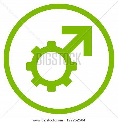 Technological Potence vector icon. Image style is a flat icon symbol inside a circle, eco green color, white background.