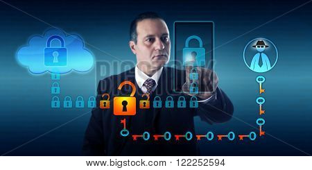 Businessman synchronizing a mobile device with cloud storage. A black hat hacker is intercepting this connection between smart phone and the cloud by breaking the encryption of the data stream.