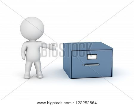 3D charcter showing a small archiving cabinet. Isolated on white background.