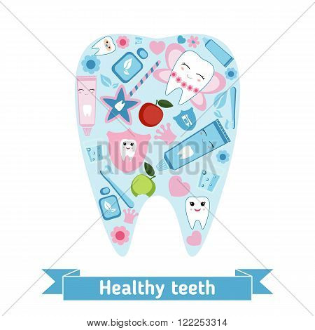 Dental care symbols in the shape of tooth. Healthy teeth concept.