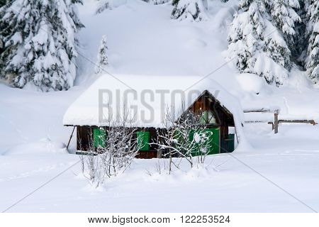 Small chalet in the snow of the dolomites ** Note: Soft Focus at 100%, best at smaller sizes