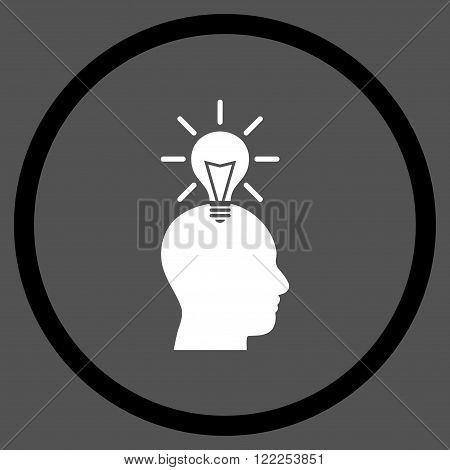 Genius Bulb vector bicolor icon. Picture style is flat genius bulb rounded icon drawn with black and white colors on a gray background.