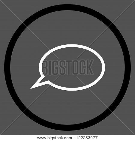 Hint Cloud vector bicolor icon. Picture style is flat hint cloud rounded icon drawn with black and white colors on a gray background.