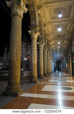 MILAN, ITALY - MARCH, 04: View of columns in the Duomo square on March 04, 2016
