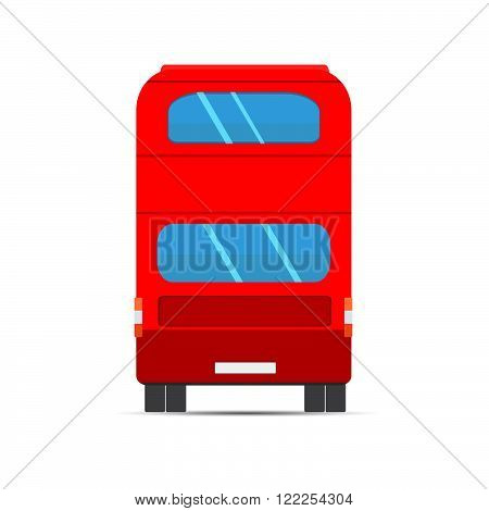 Double Decker Red Bus. Red bus rear. Stock vector. Vector illustration.