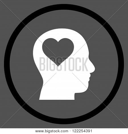 Lover Head vector bicolor icon. Picture style is flat lover head rounded icon drawn with black and white colors on a gray background.